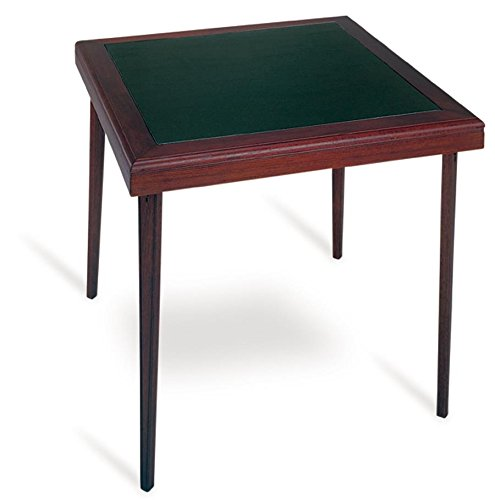 Cosco Folding Espresso Wood Table Square with Vinyl Inset - Square Corner Table Seating