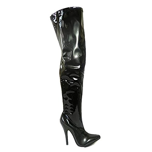 Aaishaz 786 Women Slim Wide Leg Thigh Over The Knee Wide Fit Stretchy A16051 High Heel Boots Black / Silver w73HzGYGHj