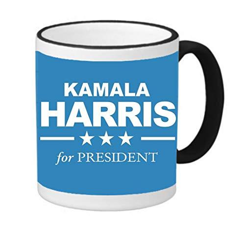 Kamala Harris For President 2020 11 ounce Black Rim/Handle Ringer Ceramic Coffee Mug Tea Cup by Debbie's Designs (Black Ceramic Rim)