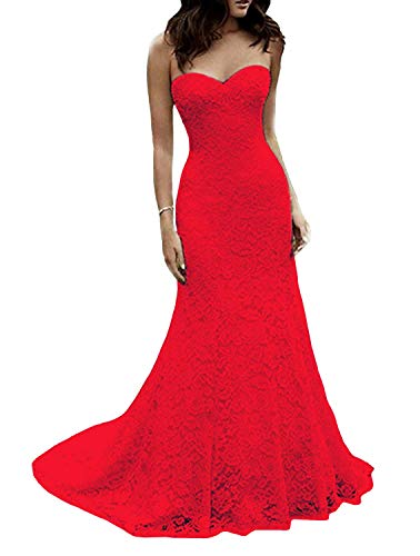 Dress Bridal 4 Gown - SIQINZHENG Women's Sweetheart Full Lace Beach Wedding Dress Mermaid Bridal Gown (4, Red)
