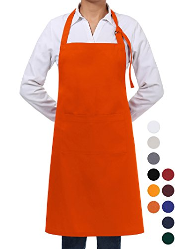(VEEYOO Adjustable Chef Bib Apron with 2 Pockets, Durable Spun Poly Cotton, Cooking Kitchen Restaurant Uniform Aprons for Men Women, 32x28 inches, Orange)