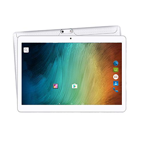2019 Upgrade - YUNTAB 10.1 inch Android Tablet Unlocked 3G Smartphone, Support Dual SIM Cards, 2GB RAM, 16GB ROM, Quad-Core Processor, IPS Touch Screen,with Dual Camera WiFi(White)