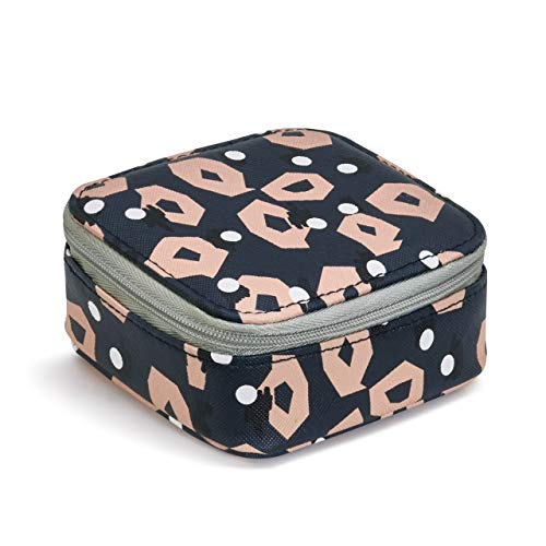 Good Vibes Pink Navy Patterned Women's 3.5 x 4.5 Inch Nylon Zip Around Travel Pill Case