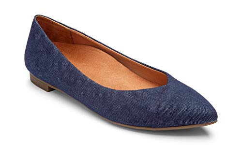 Vionic Women's Caballo Ballet Flat – Ladies Dress Shoes with Concealed Orthotic Support - Leather- Denim ()