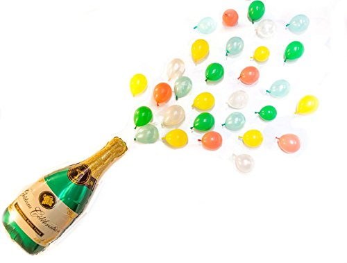 Pop the Bubbly! Colorful Balloon Pack Giant Champagne Balloon Kit, 40