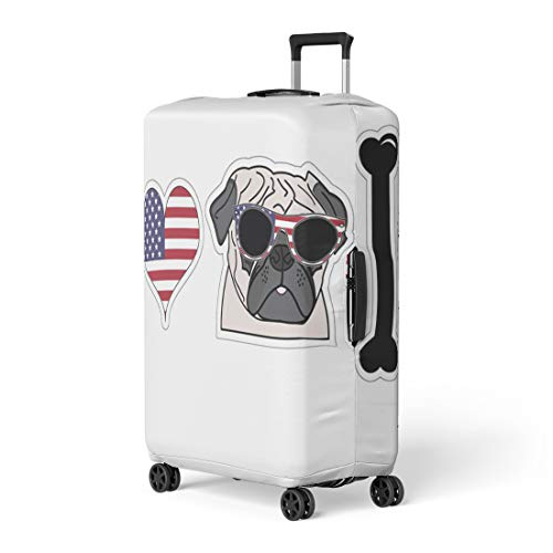 Pinbeam Luggage Cover 4Th I Love Pug American Symbols July Pet Travel Suitcase Cover Protector Baggage Case Fits 26-28 inches