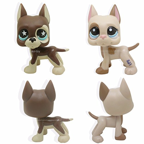 Funny Triplet Costume Ideas - tongrou 2pcs #817 #1647 Littlest Pet Shop LPS Brown tan Great Dane Dog Puppy Toy Rare
