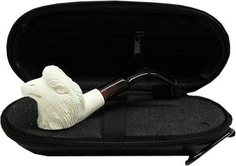 Miniature Meerschaum Pipe - EAGLE w/ Zippered Hard Cover Case