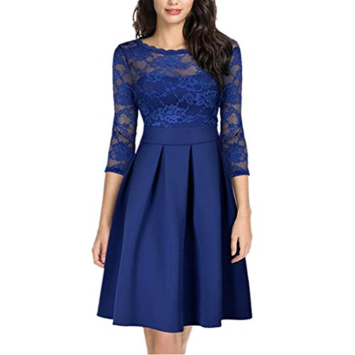 Price comparison product image Peacur Women 3 / 4 Sleeve Dresses Fashion Sexy Formal Lace Vintage Slim Solid Work Midi Dress (Blue,  S)