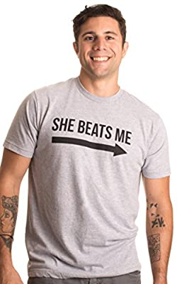 She Beats Me | Funny Husband Boyfriend Fiance Music Festival Party Bar T-Shirt Sport Grey