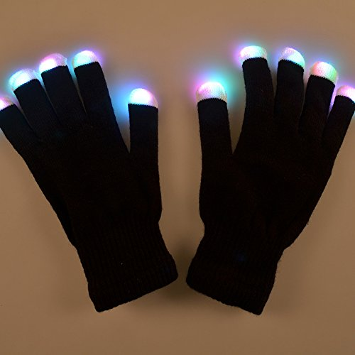 FastEngle Christmas Hallowmas LED Gloves Party Light Show Gloves- The Best Gloving & Lightshow Dancing Gloves for Clubbing, Rave, Birthday, EDM, Disco, and Dubstep Party (7 Light Flashing Modes) (Gloving Lights)
