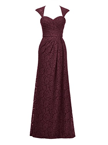 Alicepub Formal Dress Bridesmaid Women's Lace Gown Event Dress Burgundy Long Evening Party wIrxwA