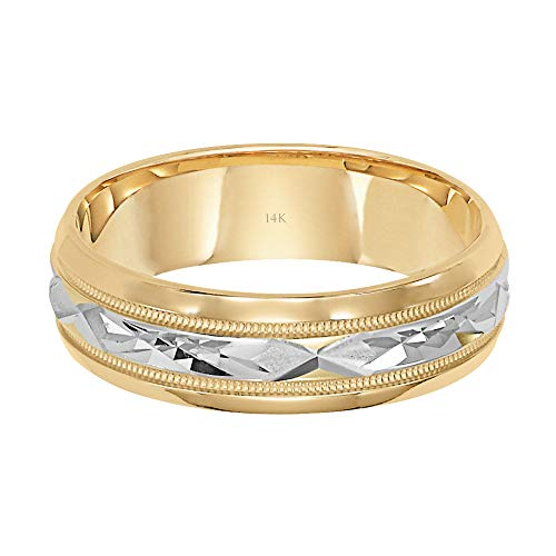 Brilliant Expressions 14K Yellow Gold Comfort Fit Wedding Band with White Gold Diamond Cut Details, 6mm, Size 10.5 by Brilliant Expressions (Image #1)