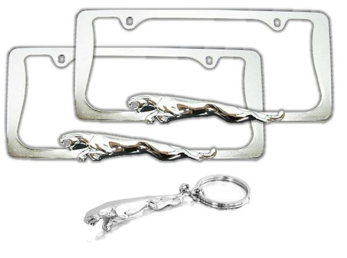 2-jaguar-chrome-license-plate-frames-fancy-keychain-holder