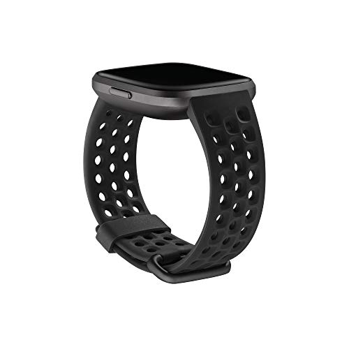 Fitbit Versa Family Accessory Band, Official Fitbit Product, Sport, Black, Large
