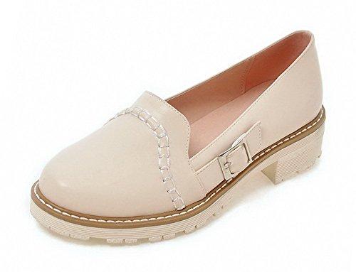VogueZone009 Damen Rein PU Niedriger Absatz Rund Zehe Ziehen auf Pumps Schuhe Cremefarben