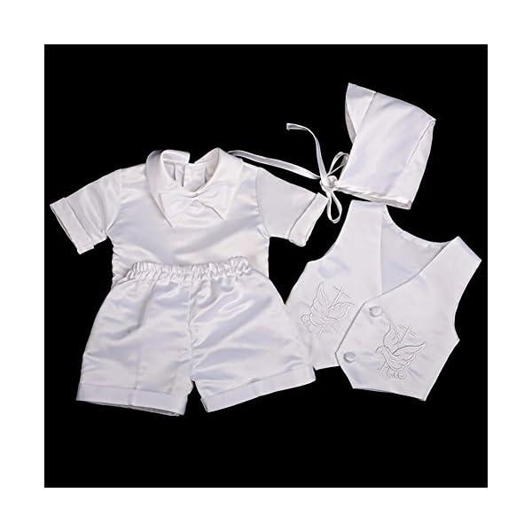 Lito Angels - Set da 4 pezzi, in raso, per battesimo e battesimo, colore: bianco, con cofano da 0 a 12 mesi, manica… 2