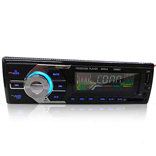 (Hadeyicar High-Power Bluetooth Audio Receiver MP3 FM Radio 1 Din Car Dashboard AUX USB SD Music Player 12V 1066BT)