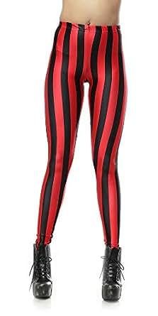 SlickBlue Womens Striped Printed Fall Leggings - Black/Red, M - L - XL
