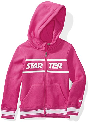 Starter Girls' Zip-up Logo Hoodie, Prime Exclusive, Power Pink with Striped Rib, L (10/12)