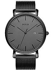 BUREI Stilvolle Herren Uhren Minimalistische Ultra Slim Datum Großes Gesicht Armbanduhr mit Edelstahlband/Lerderband