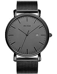 Men's Fashion Minimalist Wrist Watch Analog Deep Gray Date with Black Mesh Band