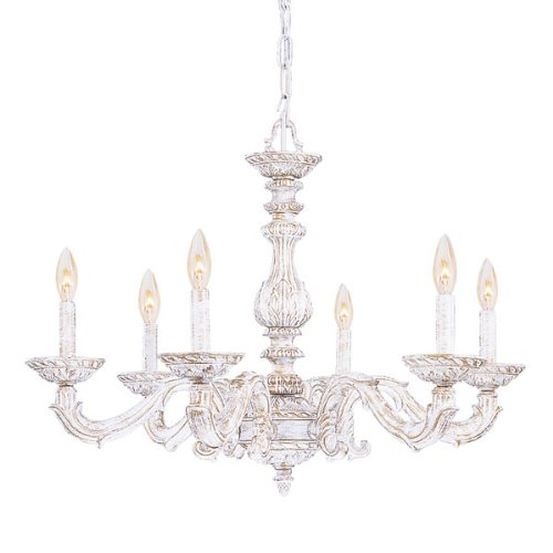 Crystorama 5126-AW Traditional Six Light Chandeliers from Sutton collection in Whitefinish, For Sale