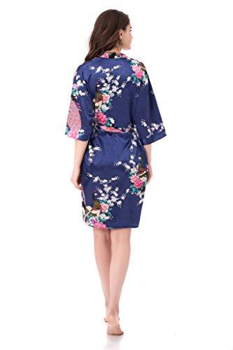 gusuqing Women s Printing Peacock Kimono Robe Short Sleeve Silk Bridal Robe  - Women s Lingerie  6b6b88a18