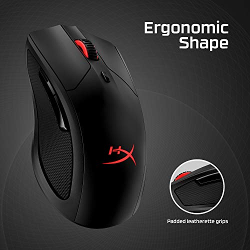 HyperX Pulsefire Dart - Wireless RGB Gaming Mouse, Software-Controlled Customization, 6 Programmable Buttons, Qi-Charging Battery up to 50 Hours - PC, PS4, Xbox One Compatible
