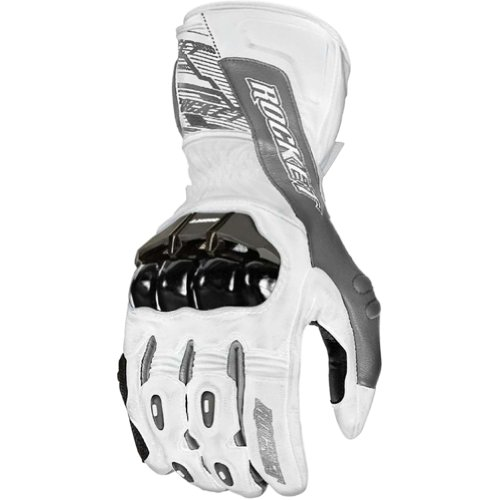 (Joe Rocket 1440-2704 Flexium TX Men's Leather Motorcycle Racing Gloves (White/Gun Metal, Large) )