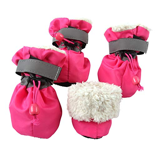 royalwise Pet Dog Boots Christmas Stockings Faux Fur Lined Anti-Slip Indoor Dog Booties for Small Dogs Cat 4 Pcs (S, Rose) ()
