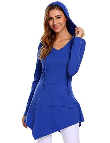 SummerRio Women's Lone Sleeve V Neck Hoodie Kangaroo Pocket Knitted Tunic Top