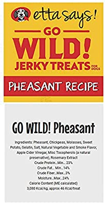 ETTA SAYS! Go Wild Jerky Treats for Dogs - Pack of 2 - Made in The USA, Single Source Protein, Grain-Free, Glycerin-Free (Pheasant)