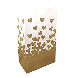 LumaBase 48524 24 Count Gold Hearts Luminaria Bags
