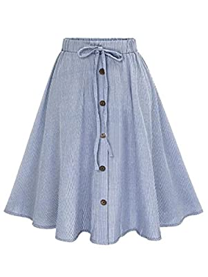 Milumia Women's Vertical Striped Buttoned Front Cute Casual Skirt