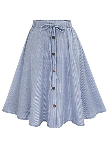 Milumia Women's Vertical Striped Buttoned Front Cute Casual Skirt One Size Blue
