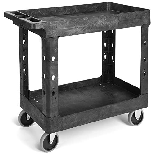 Pipishell Work Cart Tub Storage 34 x 17 Inch - Heavy Duty Utility Cart with Wheels Safely Holds up to 500 lbs - 2 Tier Black Service Cart Ideal for Warehouse, Garage, Cleaning, Manufacturing from Pipishell