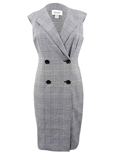 Calvin Klein Cap Sleeve Plaid Coat Dress CD8X26TF Black/Cream 6