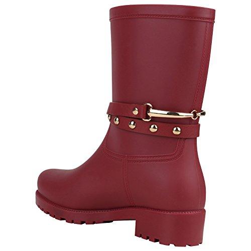 ... Stiefelparadies Damen Gummistiefel Profilsohle Stiefel Boots Leder-Optik  Schuhe Nieten Lack Schlupfstiefel Blockabsatz Flandell Dunkelrot ...