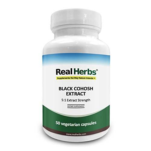 Real Herbs Black Cohosh Extract - Derived from 3,000mg of Black Cohosh with 5 : 1 Extract Strength - Reduces Hot Flashes, Anxiety & Mood Swings, Improves Sleep Quality – 50 Vegetarian Capsules - Black Cohosh Sleep
