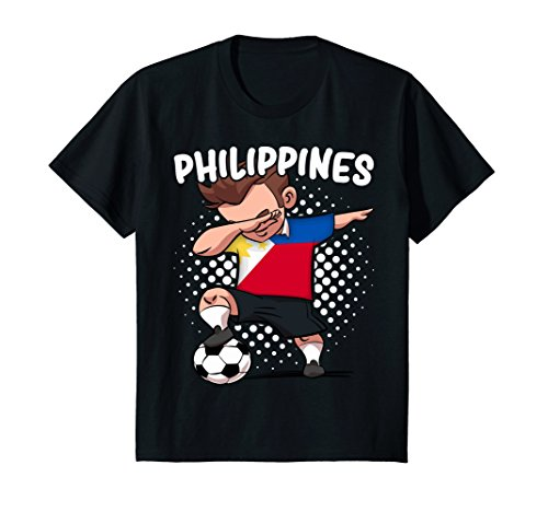 Kids Funny Dab Soccer T-Shirt for Kids Philippines Flag Filipino