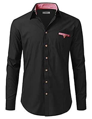 IDARBI Men's Tailored Button Down Shirt With Gingham Trim (S-2XL / 18 Colors)