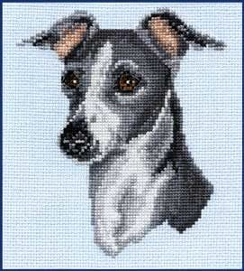 Complete counted cross stitch kit WHIPPET dog puppy