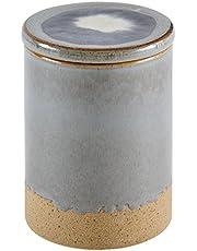 """Stone & Beam Organic-Shape Stoneware Round Box, 6.4""""H, Blue and Grey"""