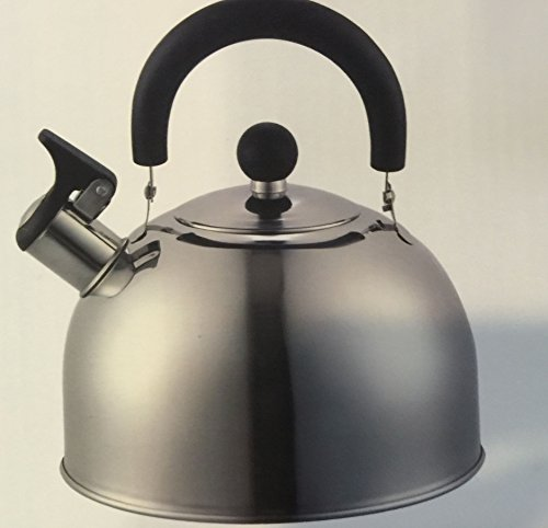 DURA-KLEEN 309-SS Whistling Tea Kettle, Stainless Steel, 2.5 qt Capacity, 13 in L x 16 in W x 16 in H