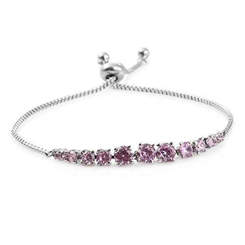 Simulated Pink Sapphire Stainless Steel Bolo Fashion Bracelet for Women 3.9 cttw Size Adjustable