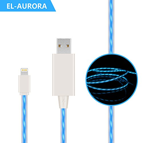Price comparison product image EL-AURORA Lightning to USB Cable, 3ft Visible Flowing LED USB Charger Cable Light Up Charger Sync Data Cord for iPhone X / 8 / 8 Plus / 7 / 7 Plus / 6 / 6 Plus, iPod and iPad (white)