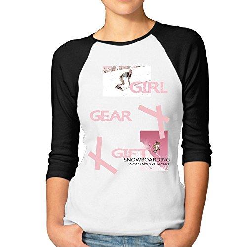 Fgjjklft Girl Snowboard Snowboarder Gift Dress Casual Womens Baseball 3/4 Sleeve Raglan T Shirts