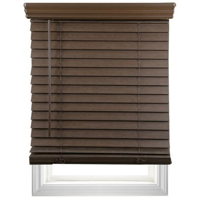 "Price comparison product image JCPenney Home 2"" Wood Tone Faux-Wood Horizontal Blinds (43"" X 64"",  Dark Maho)"