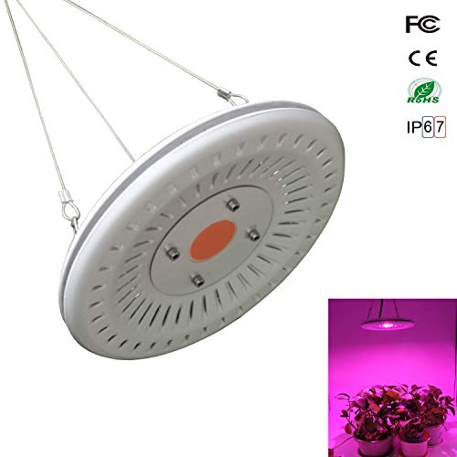 (UFO LED Grow Light Waterproof, Best Grow Lights for Indoor Plants, 300W CFL & HPS & Fluorescent Grow Light Equivalent, Full Spectrum and Lightweight for Grow Tent Plants, Succulent, Bonsai, Orchid)